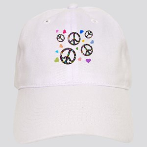 Peace signs and hearts patter Cap