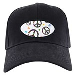 Peace signs and hearts patter Black Cap