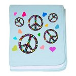 Peace signs and hearts patter baby blanket