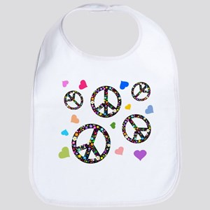 Peace signs and hearts patter Bib