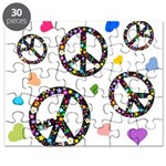 Peace signs and hearts patter Puzzle