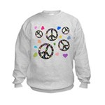Peace signs and hearts patter Kids Sweatshirt