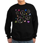 Peace signs and hearts patter Sweatshirt (dark)