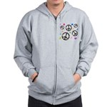 Peace signs and hearts patter Zip Hoodie