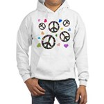 Peace signs and hearts patter Hooded Sweatshirt