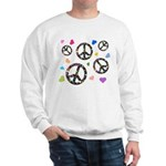 Peace signs and hearts patter Sweatshirt