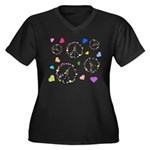 Peace signs and hearts patter Women's Plus Size V-