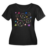 Peace signs and hearts patter Women's Plus Size Sc