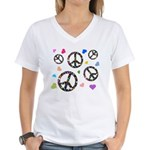 Peace signs and hearts patter Women's V-Neck T-Shi