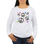 Peace signs and hearts patter Women's Long Sleeve