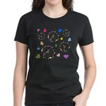 Peace signs and hearts patter Women's Dark T-Shirt