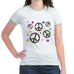 Peace signs and hearts patter Jr. Ringer T-Shirt