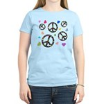 Peace signs and hearts patter Women's Light T-Shir