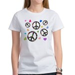 Peace signs and hearts patter Women's T-Shirt
