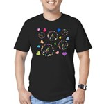 Peace signs and hearts patter Men's Fitted T-Shirt