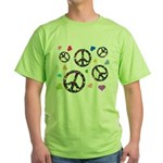 Peace signs and hearts patter Green T-Shirt