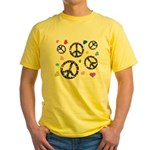 Peace signs and hearts patter Yellow T-Shirt