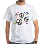 Peace signs and hearts patter White T-Shirt