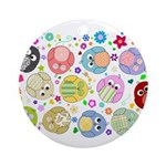 Cute Cartoon Owls and flowers Ornament (Round)