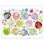 Cute Cartoon Owls and flowers Small Poster