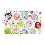 Cute Cartoon Owls and flowers 38.5 x 24.5 Wall Pee