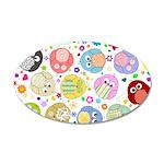 Cute Cartoon Owls and flowers 22x14 Oval Wall Peel