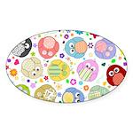 Cute Cartoon Owls and flowers Sticker (Oval)