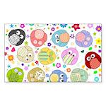 Cute Cartoon Owls and flowers Sticker (Rectangle)