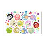 Cute Cartoon Owls and flowers Car Magnet 20 x 12