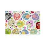 Cute Cartoon Owls and flowers Rectangle Magnet