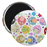 Cute Cartoon Owls and flowers Magnet