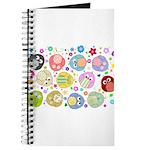 Cute Cartoon Owls and flowers Journal