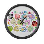 Cute Cartoon Owls and flowers Large Wall Clock