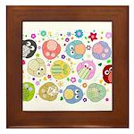 Cute Cartoon Owls and flowers Framed Tile