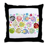 Cute Cartoon Owls and flowers Throw Pillow