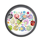 Cute Cartoon Owls and flowers Wall Clock