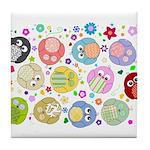 Cute Cartoon Owls and flowers Tile Coaster