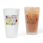 Cute Cartoon Owls and flowers Drinking Glass