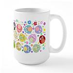 Cute Cartoon Owls and flowers Large Mug