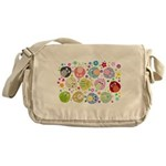 Cute Cartoon Owls and flowers Messenger Bag