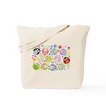Cute Cartoon Owls and flowers Tote Bag