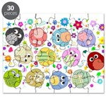 Cute Cartoon Owls and flowers Puzzle