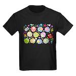 Cute Cartoon Owls and flowers Kids Dark T-Shirt