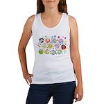 Cute Cartoon Owls and flowers Women's Tank Top