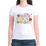 Cute Cartoon Owls and flowers Jr. Ringer T-Shirt