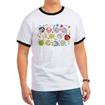 Cute Cartoon Owls and flowers Ringer T