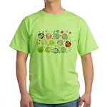 Cute Cartoon Owls and flowers Green T-Shirt