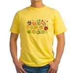 Cute Cartoon Owls and flowers Yellow T-Shirt