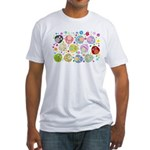 Cute Cartoon Owls and flowers Fitted T-Shirt