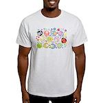 Cute Cartoon Owls and flowers Light T-Shirt